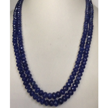 Natural Blue Sapphires Faceted Round Beeds 2 Layers Necklace