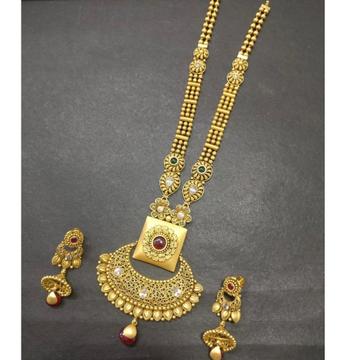 916 Gold Antique Long Necklace Set KG-N004 by Kundan