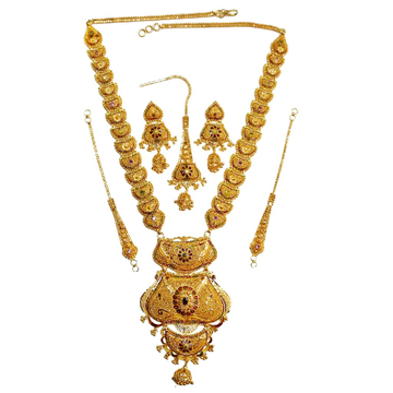 22k gold kalkutti long necklace set mga - gn0053