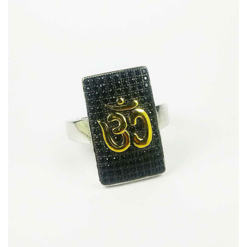 Fancy 925 Silver Gents Ring With Om Shape
