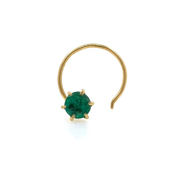 18kt / 750 Yellow Gold Classic Nose Pin In Emerald...