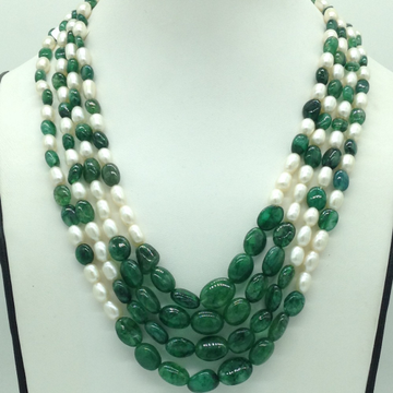 White OvalPearls with Green Bariels4Layers Necklace JPM0413