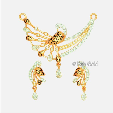 22KT CZ Antique Butterfly Shaped Pendant Set