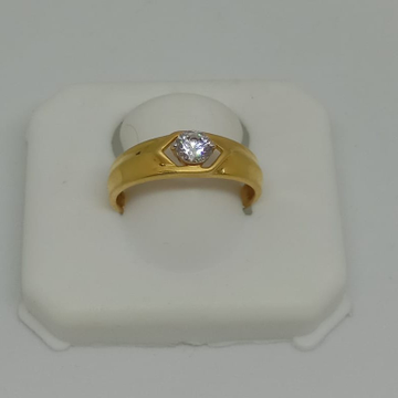 22KT Gold Single Stone Gents Ring MJ-R002