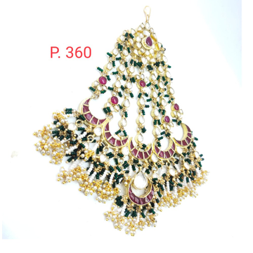 bridal gold plated Pink Stone  mang tikka with hanging beads 1634