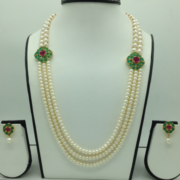 RedAnd GreenCZ BroachSet With 3 Line Flat Pearl...