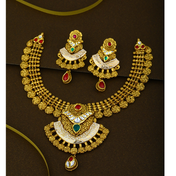 916 CZ Gold Stylish Wedding Necklace Set