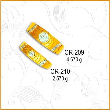 916 Gold Round Design CZ Stone Couple Ring CR-209