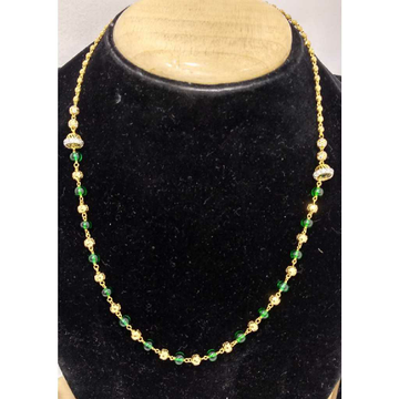 916 Gold Vertical Green Beaded Mala