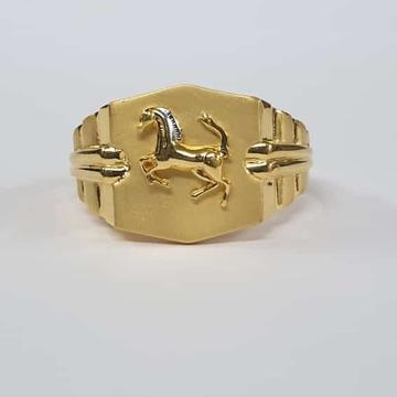 22kt Gold Dull Polish Rodiyam Two line Horse Design ring for Men
