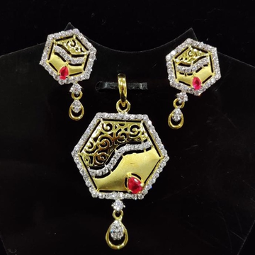 916 Gold 22kt Diamond  Pendal Butti Set RH-PSET06