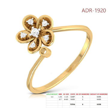 22KT Gold yellow sunflower Shap Rings for Women
