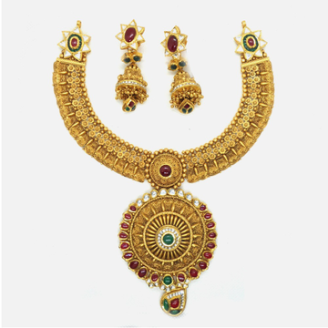 916 Gold Antique Bridal Necklace Set RHJ-4855