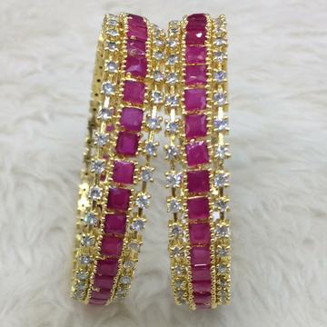 22KT Gold Pink Stone Fancy Kada RH-B004