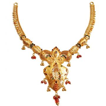 916 Gold Kalkatti Designer Necklace MGA - GN053
