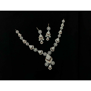 92.5 Sterling Silver Fancy Necklace Set Ms-3929