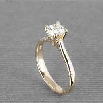 18KT Plain Gold Solitaire Diamond Ring