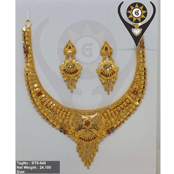 22KT Gold Traditional Necklace Set  by Parshwa Jewellers