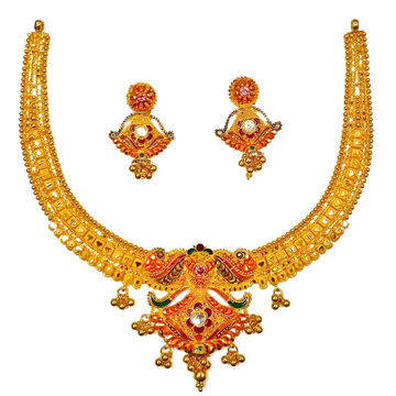 22k gold kulkatti half necklace set mga - gn0039