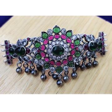 Puran deep pink floral pearl drops short choker in...