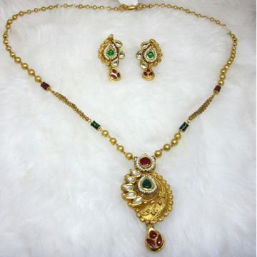 Antique gold 22k hm916 chain pendant set