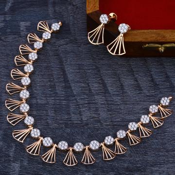 18Ct CZ  Exclusive Diamond  Rose Gold Necklace Set RN172
