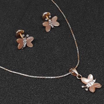 18k Pink Butterfly Gold Pendant set by