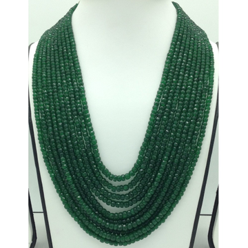 Natural Green BarielsRound Faceted 10Layers Neck...