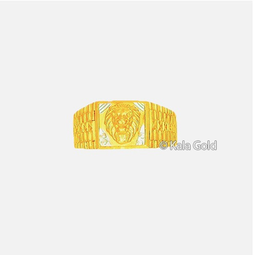 916 Gold Indian CZ Lion Design Gents Ring
