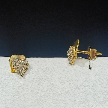 18CT Gold Double Heart Design Earring  by
