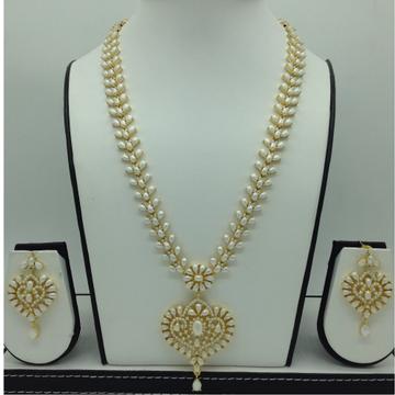 Freshwater White Button Pearls Long Haar Set JNC0105