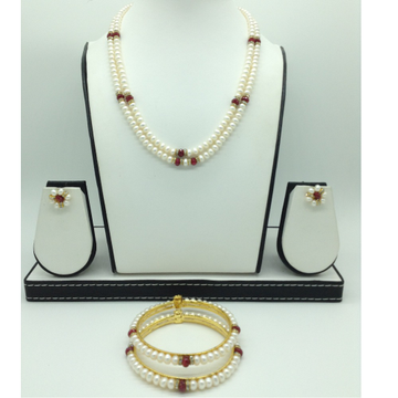 Freshwater Flat 2 Lines Pearls with Red Semi Beeds Set JPP1047