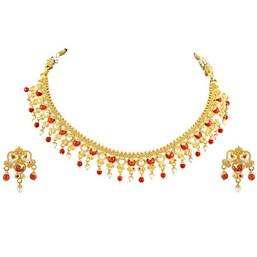 22kt, 916 Hall-Marked, Yellow Gold traditional rajasthani Design Necklace For Women Jkn024