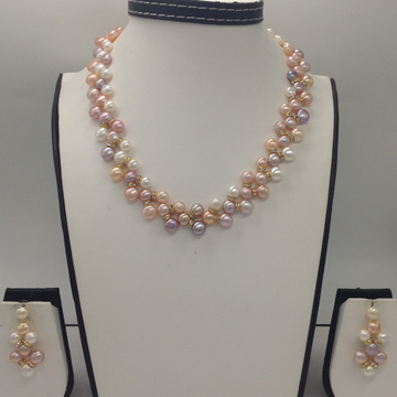 Freshwater Multi Colour Button Pearls ZigZag Necklace Set JPP1011