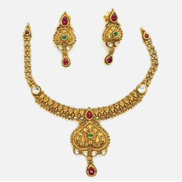 916 Gold Designer Bridal Necklace Set RHJ-4484