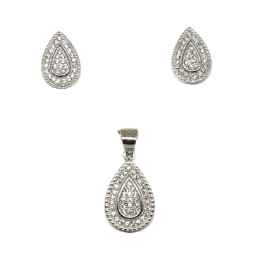 925 Sterling Silver Pear Shape Pendant Set MGA - PTS0082