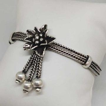 925 Sterling Silver Oxides Flower Ladies Bracelet