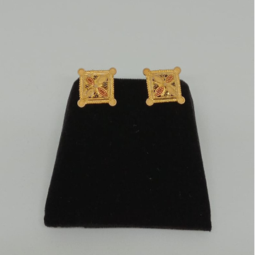 916 Plain Gold Square Earring For Ladies MJ-E009