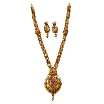 22k Gold Antique Oxidised Designer Necklace Set MGA - GLS075