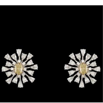 Diamonds and Citrine Ear Studs JSJ0011