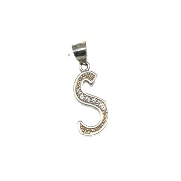 925 Sterling Silver Alphabet (Letter S) Pendant MGA - PDS0153