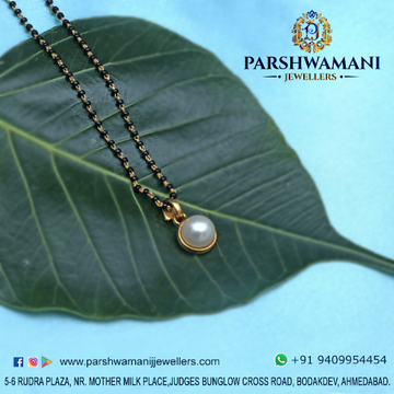 22 carat Gold Delicate Mangalsutra with pearl pendent For Women