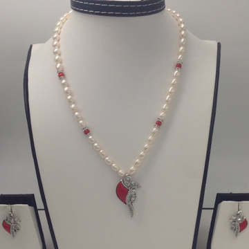 White CZ And Coral Pendent Set With Oval Pearls Ma...