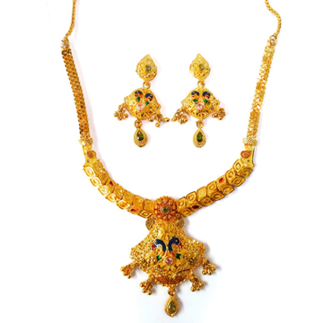 One gram gold forming necklace set mga - gfn005