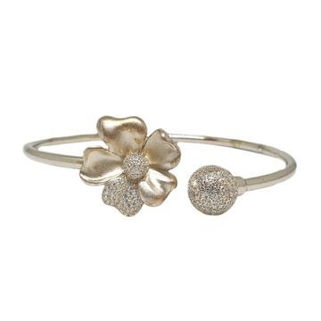 925 Sterling Silver Flower Shaped Designer Bracelet MGA - BRS1738