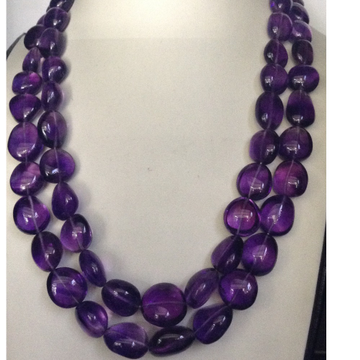 Natural Purple Amethyst Oval tumbles 2 Layers Neck...