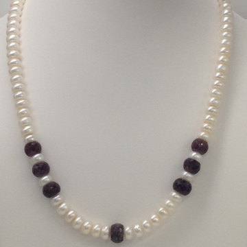 Freshwater White Flat Pearls with Red Ruby Faceted...