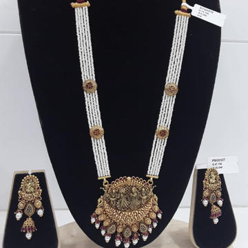 22KT Yellow Gold Designer Antique And Jaipuri Pearl Necklace Set For Women