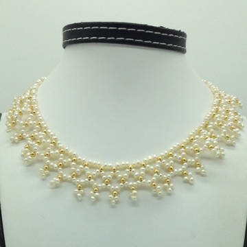 Freshwater White Pearls And Golden Balls JAli Neck...