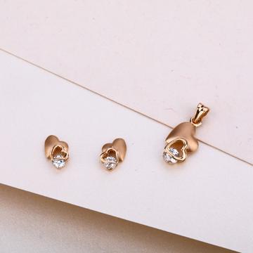 18CT Gold Heart shape Diamond Pendant Set RPS01